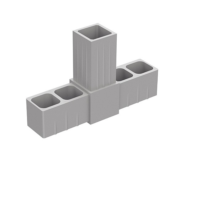 T TYPE 3 WAY CONNECTOR 20x20, GREY